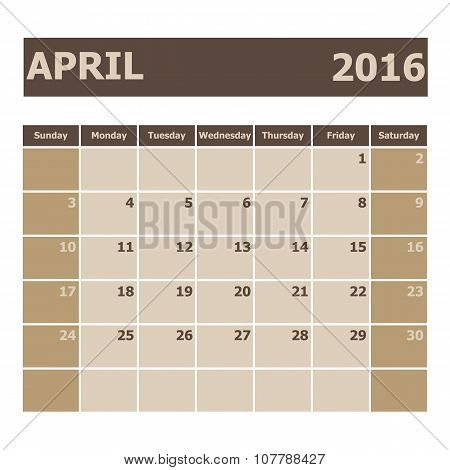 Calendar April 2016, Week Starts From Sunday