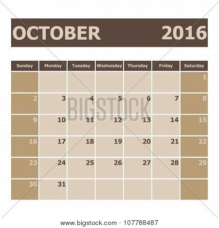 Calendar October 2016, Week Starts From Sunday