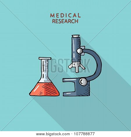 Laboratory medical flask and microscope.