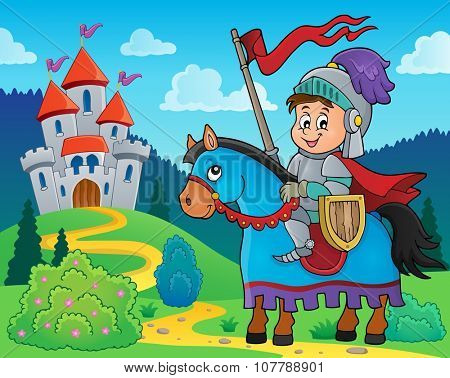 Knight on horse theme image 2 - eps10 vector illustration.