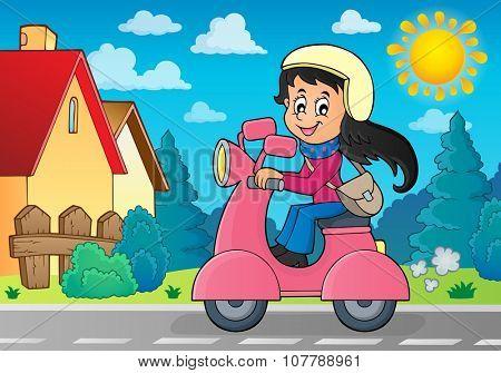 Girl on motor scooter theme image 3 - eps10 vector illustration.
