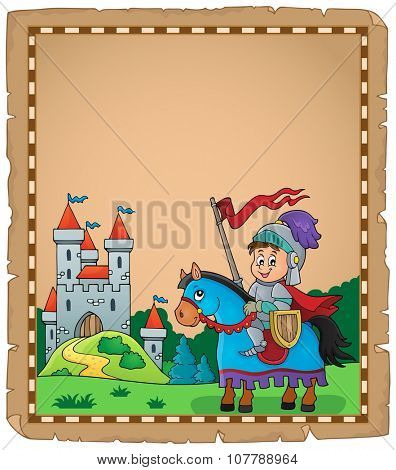 Parchment with knight on horse theme 2 - eps10 vector illustration.