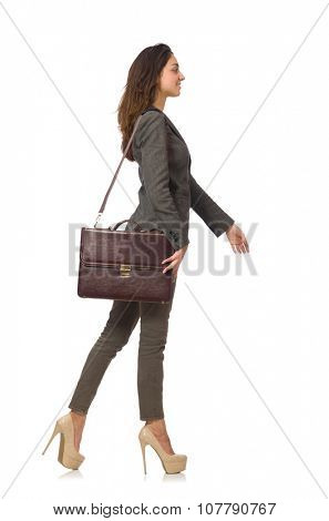 Woman businesswoman with briefcase isolated on white