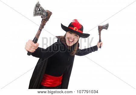 Woman pirate isolated on white