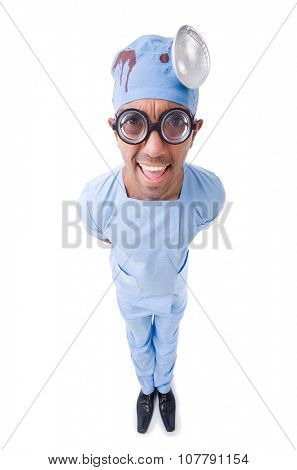 Young nurseboy isolated on white