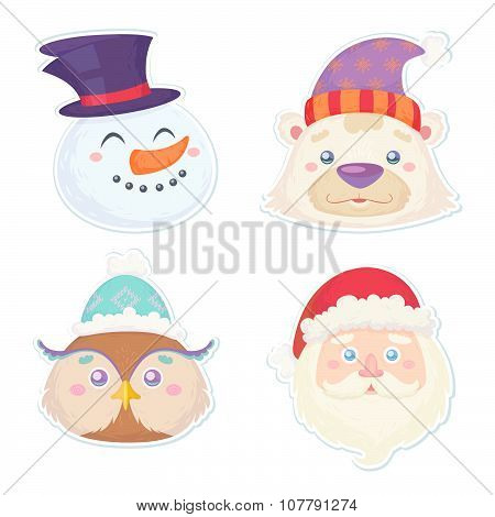 Cute Christmas Characters, Head Stickers