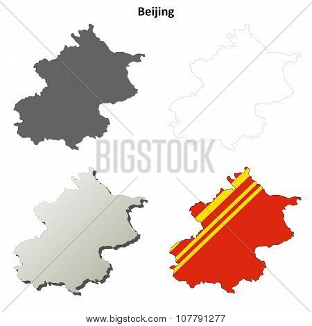 Beijing blank outline map set