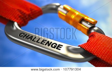 Challenge on Chrome Carabiner between Red Ropes.