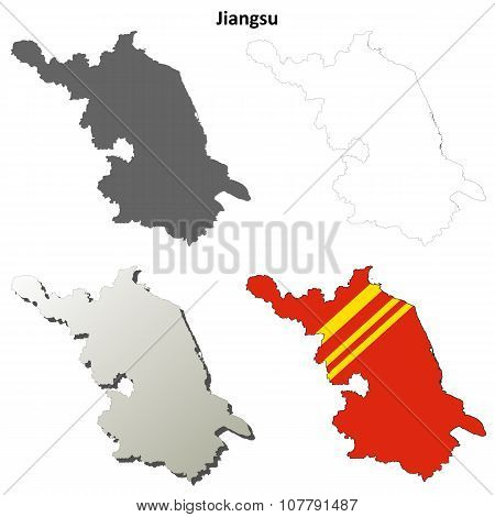 Jiangsu blank outline map set