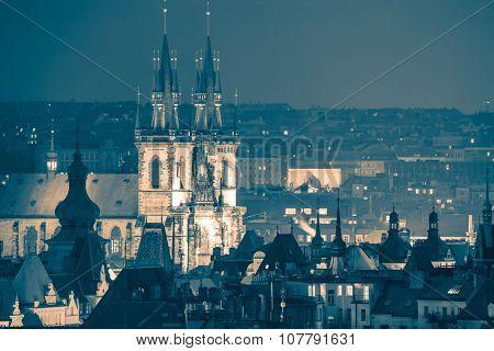 Prague, fantastic old town roofs at night - vintage toned, Czech Republic, European famous landmark
