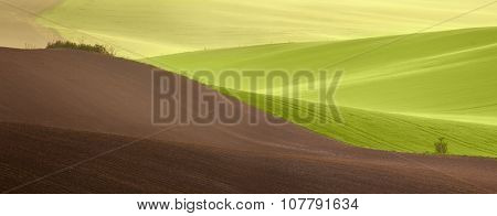 Beautiful countryside panoramic landscape at spring time - agricultural colorful fields