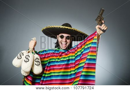 Man with gun and money sacks
