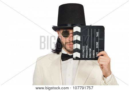 Man holding movie board isolated on white
