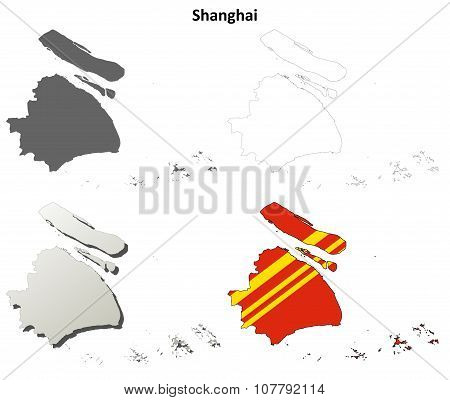 Shanghai blank outline map set