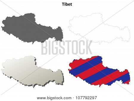 Tibet outline map set - Tibetan version