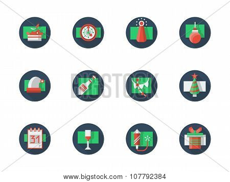 Round colored vector icon for New Year party