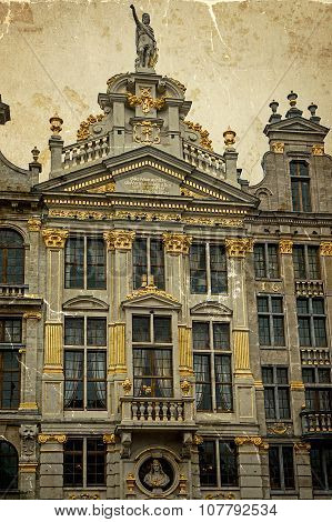 Old Photo With Architectural Details On A Historic Buildings Of Brussels, Belgium 1