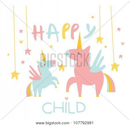 Cute Small Unicorn with Mom. Vector Illustration.