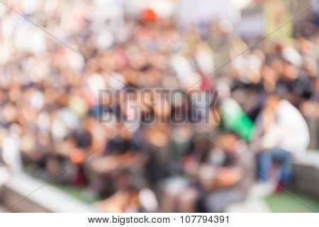 Abstract Blurred Background Of Crowd People In B-boy Break-dances Battle At Dance Competitions.