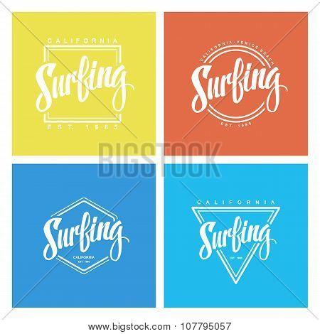 Set of surfing labels. Handwritten word.