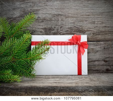 Christmas Tree And Gift Envelope.