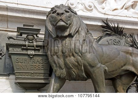 The lion of universal suffrage statue of the Republic (Paris France).