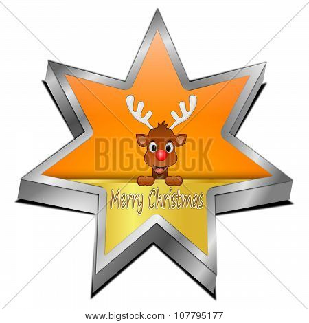 Star button with Reindeer wishing Merry Christmas