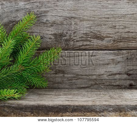 Christmas Tree On Wooden Background.