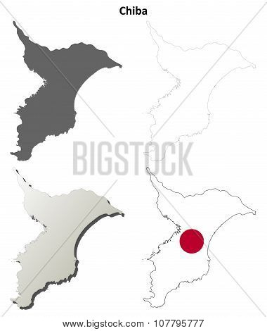 Chiba blank outline map set