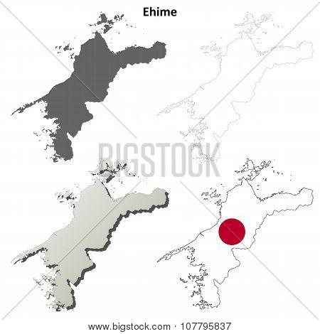 Ehime blank outline map set