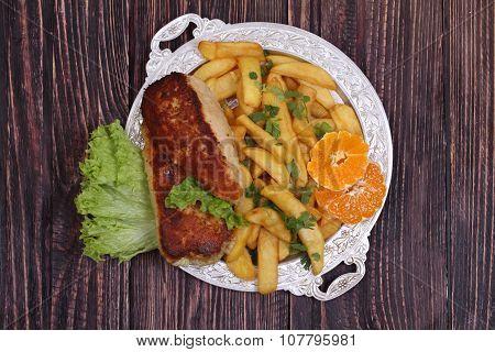 Chicken Fillet In A Crisp On Salad Leaves