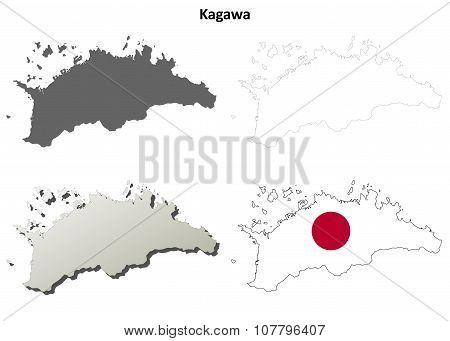 Kagawa blank outline map set