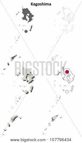 Kagoshima blank outline map set
