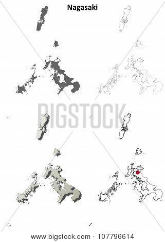 Nagasaki blank outline map set