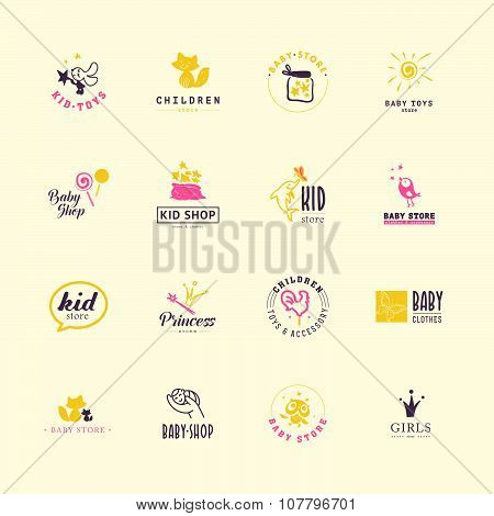 Vector collection of baby logo.