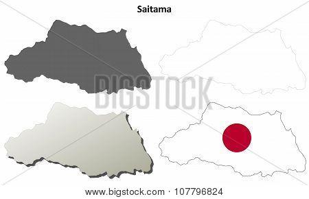 Saitama blank outline map set