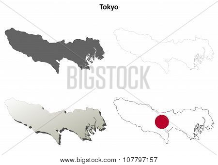 Tokyo blank outline map set