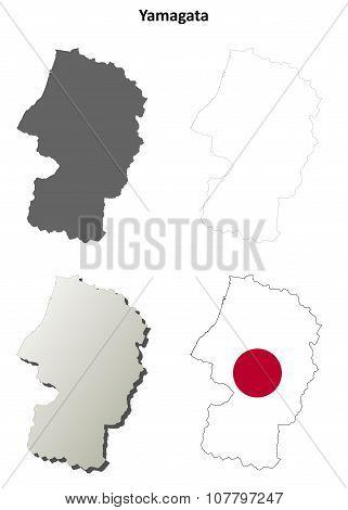 Yamagata blank outline map set