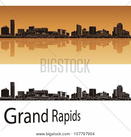 Grand Rapids  Skyline In Orange Background