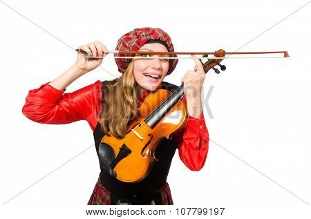 Funny woman in scottish clothing with violin