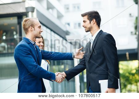 Business People Handshake Outdoor