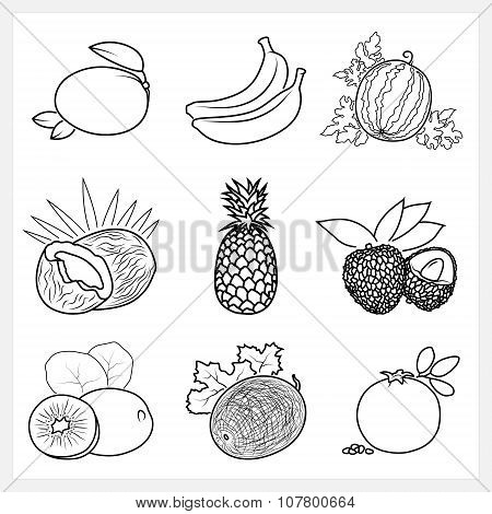 Set Of Fruit Linear Icons