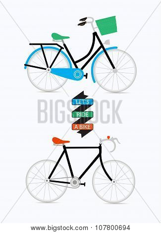 Illustration with graphic message and bicycles.