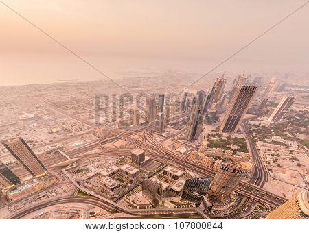 Panorama of night Dubai during sunset