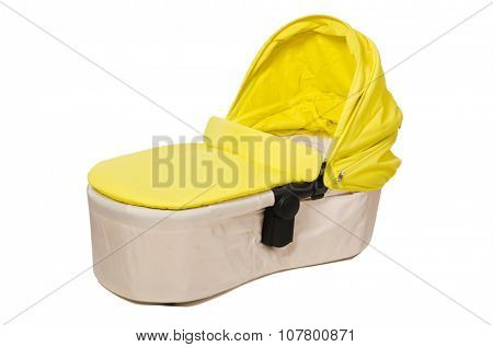 Baby carrycot isolated on white