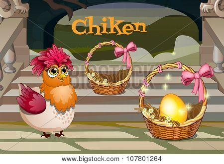 Hen with the Golden egg in basket