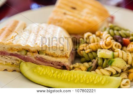 Cuban Sandwich With Pasta Salad And Pickle