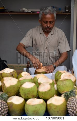 Unknown Indian Sales A Coconuts On A Street