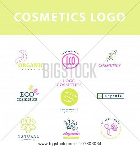 Vector collection of cosmetics logo templates. Natural and eco product label.