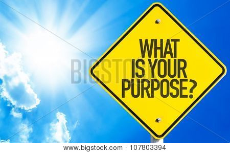 What Is Your Purpose? sign with sky background